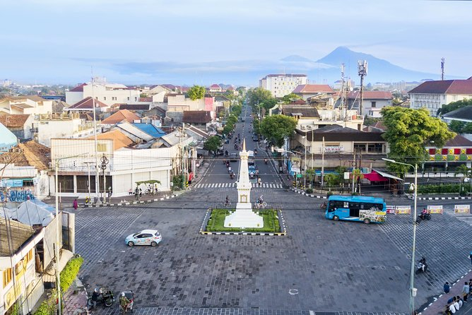 Yogyakarta with mount under blue sky