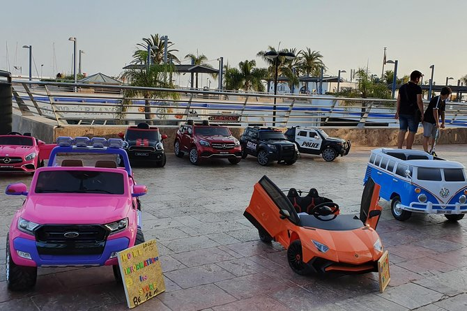 Electric children's vehicles for children for rent.