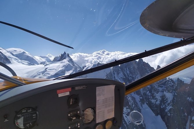 Flying over Chamonix Valley with a small plane