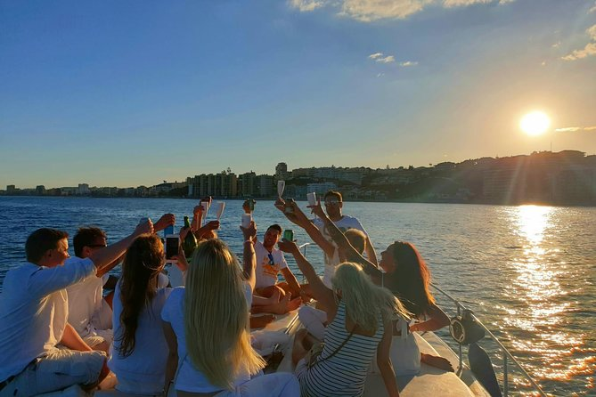 Sunset on board a 9 meter boat with a glass of cava