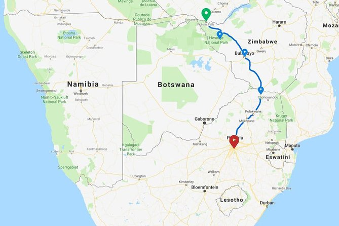 7 Days Victoria Falls to Johannesburg via Zimbabwe Accommodated Adventure