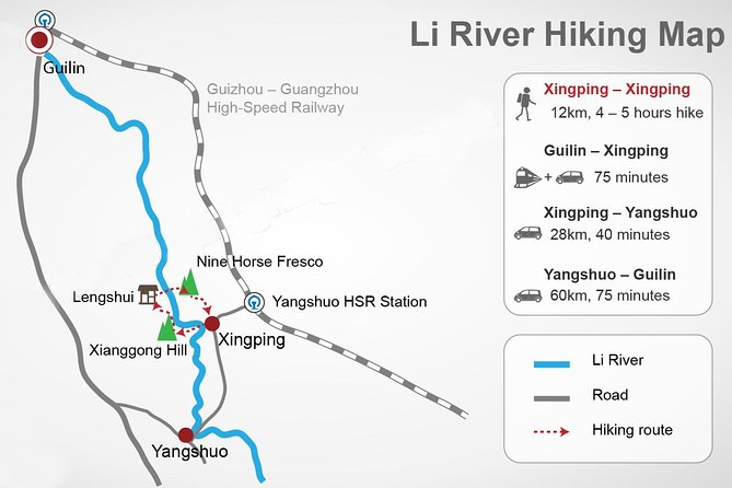 Full-Day Private Li River Hiking Tour Including Xingping and Xianggong Hill