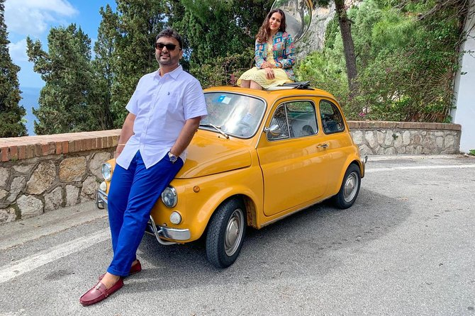Photo tour in Capri with the iconic yellow Fiat 500
