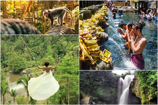 Ubud - Monkey Forest - Jungle Swing - Water Temple and Waterfall