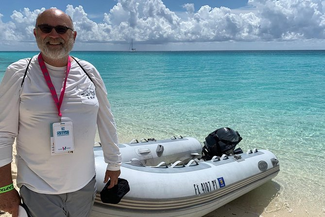 Large stable dinghy for shore side expeditions