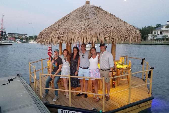 A Charleston Harbor tour on a polynesian style real bamboo motorized tiki bar.