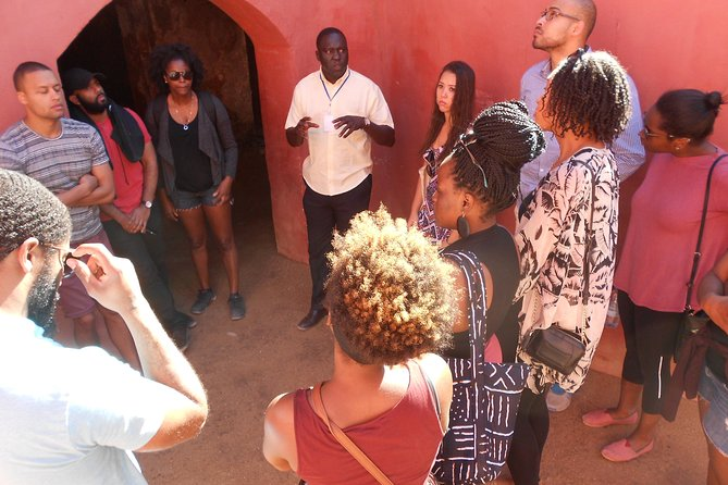 Giving a comprehensive lecture on the Slave Trade on Goree