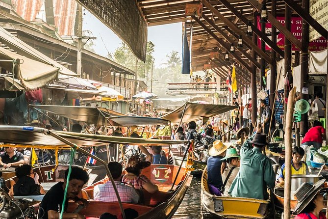 Damneon Saduak Floating Market & Erawan Waterfall from Bangkok
