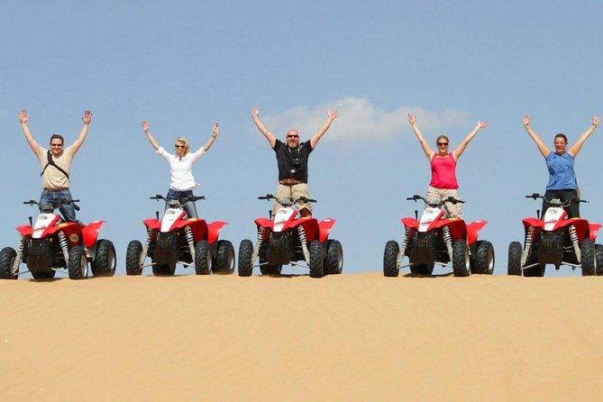 Desert Safari Morning & Self Drive Quad Bike with Camel Ride and Sand Boarding