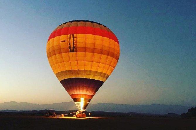 Hot Air Balloon Over Red City Of Marrakech, Atlas Mountains