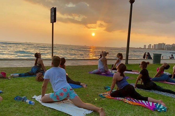 Beach and Sunset Yoga on Waikiki Oceanfront with Diamondhead Backdrop