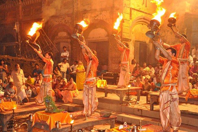Varanasi Day Trip with Chaukhandi Stupa, Dhamek Stupa and Ganga Aarti Ceremony