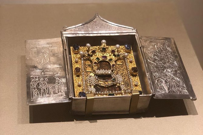 Silver icon frame with gemstones