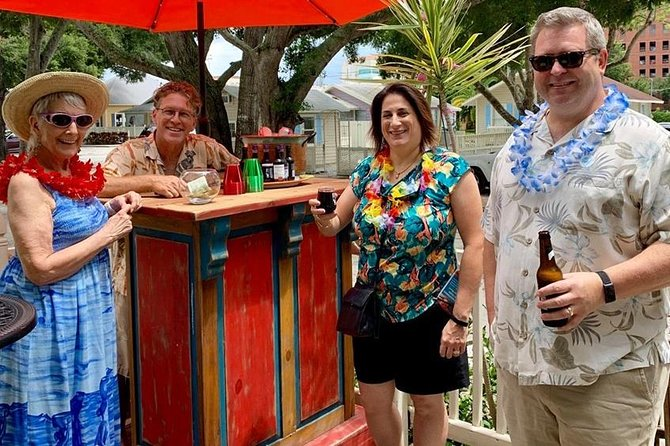 Enjoy wine or beer at the Trolley Cottage Tiki Bar before boarding.