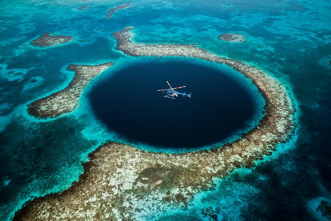 Great Blue Hole & Barrier Reef from Grand Caribe Heliport