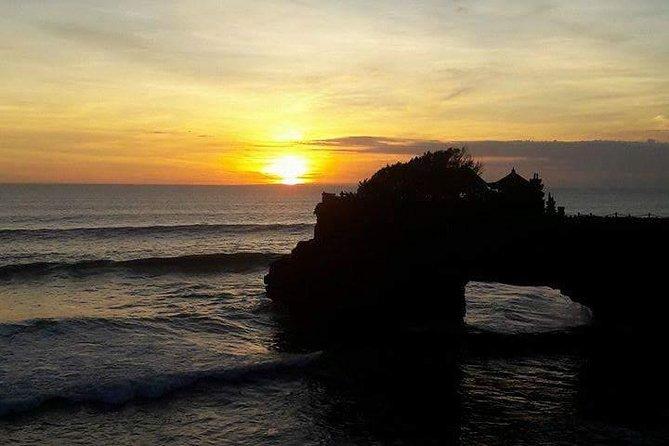 Sunset at Tanah Lot Temple - Tagenungan Waterfall and Ubud Tour