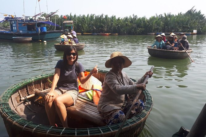 Basket boat tour and marble workshop from Da Nang city