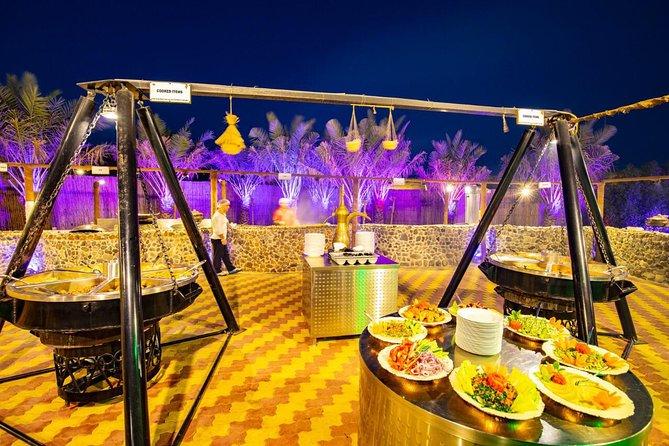 VIP Desert Safari Dubai 5* open buffet and a camp, tables and seating