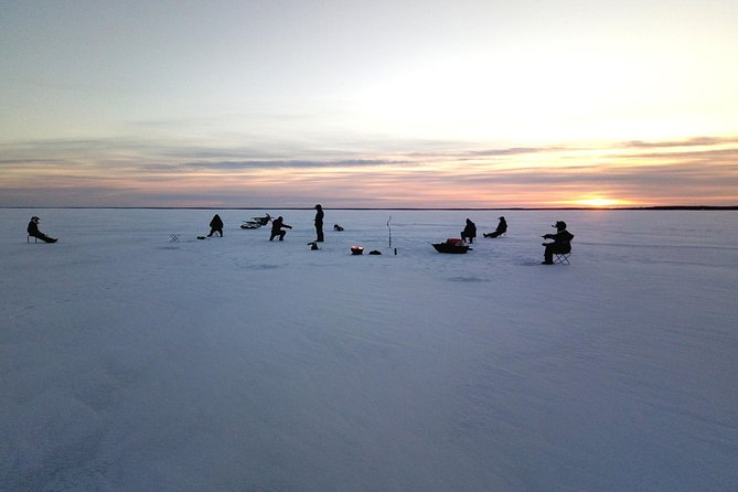 Ice fishing trip in Nallikari, Oulu, Finland