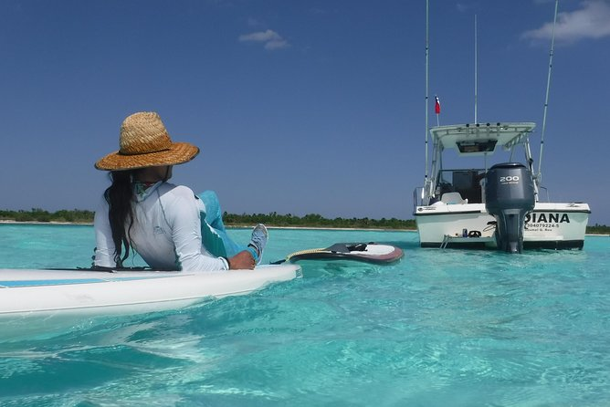 """Paddleboard on """"Passion Island"""" by private boat in Cozumel."""