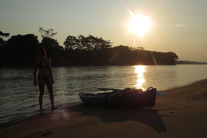 kayak at the sunset time