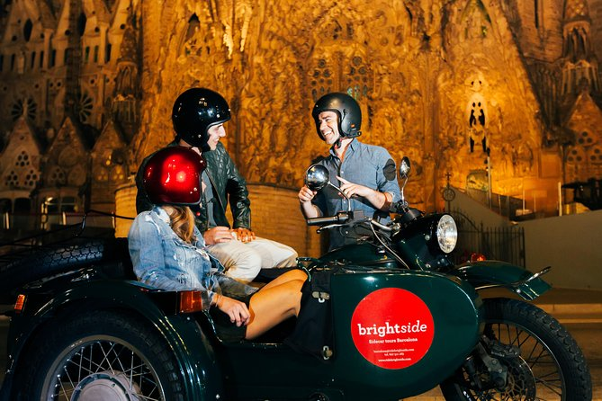 Night Tour of Barcelona on Sidecar Motorcycle