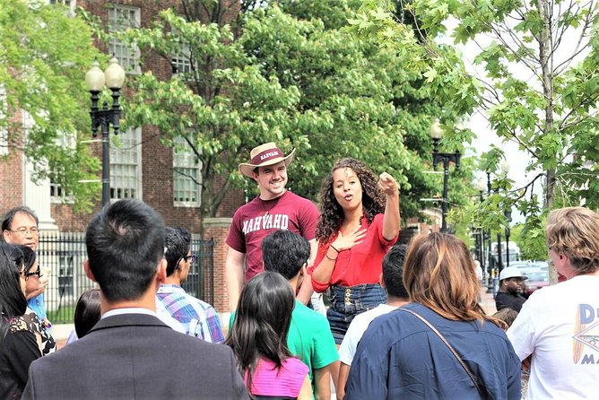Monica and Eli launching a Tour of Harvard.