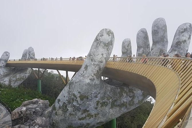 Guided Tour toGOLDEN BRIDGE,MARBLE MOUTAIN,DRAGON BRIDGE fromTIEN SA or CHAN MAY