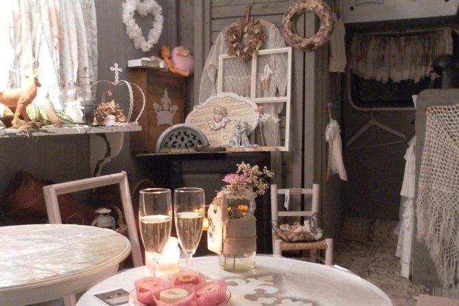 Aperitif dinner in a bohemian caravan