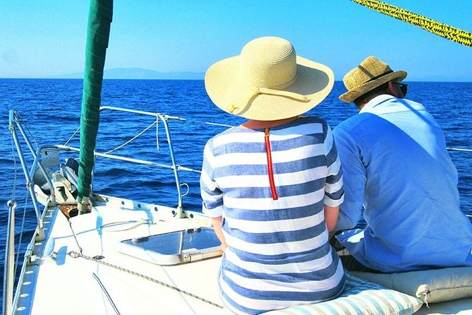 Honeymoon private day sailing tour from Naxos with fresh fish and champagne