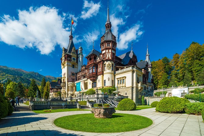 Peles Castle and the outside garden.