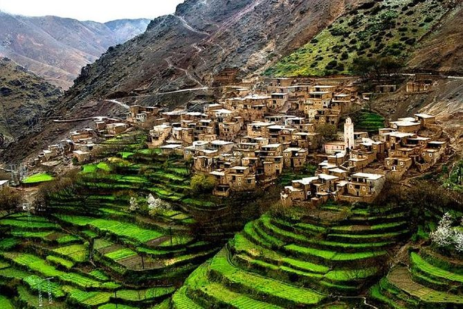Day trip to atlas Mountains Ourika waterfall & Berber Villages & with Camel Rid
