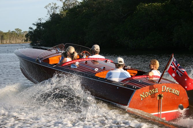 Noosa River Cruise for 3 to 4 people on a Classic Mahogany Speed Boat - 90 min.