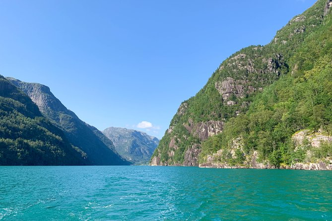 The narrow & Pristine Fyksesund Fjord with waterfalls