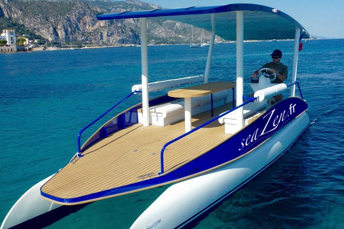 French Riviera Solar Powered Boat Private Cruise + Pick-up from Nice option