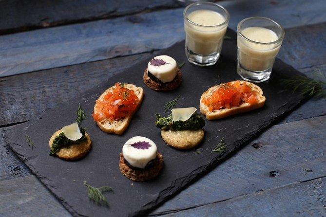 Trout Caviar Toasts, Parsley Pesto Biscuits, Potato Soup Shots