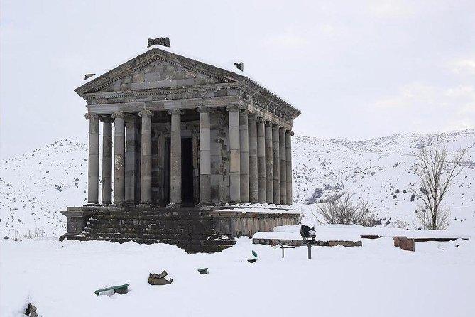 Daily winter snowshoe hiking tour from Geghard monastery to Garni gorge
