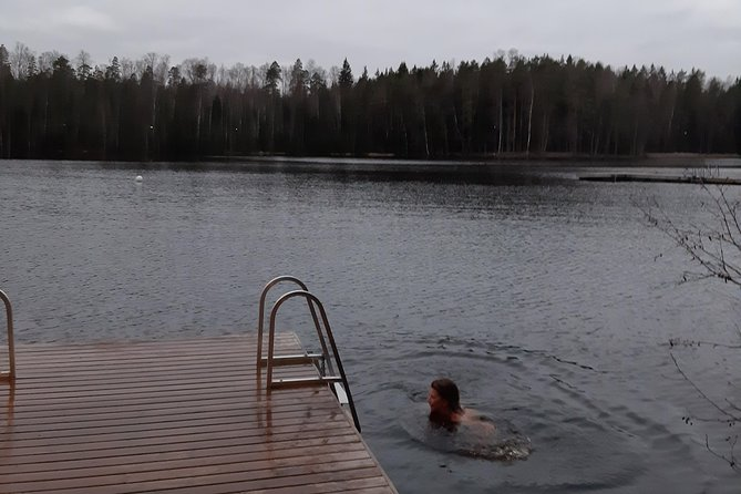cold water!! but so great after a hot sauna