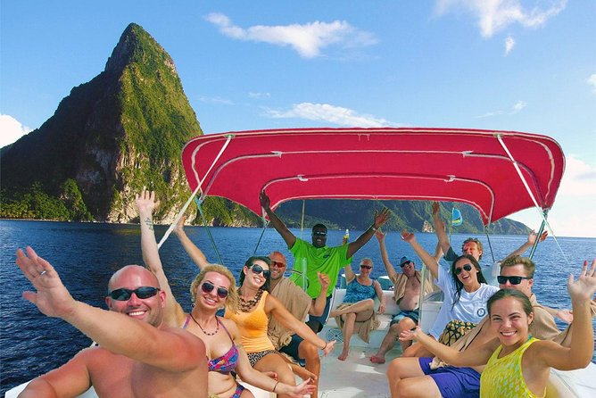 Private Pitons Boat Tour with Mud Bath, Snorkeling, Waterfall