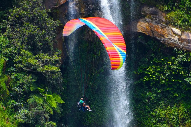 Paragliding Over Waterfalls Private Tour plus options Guatape ATV from Medellin