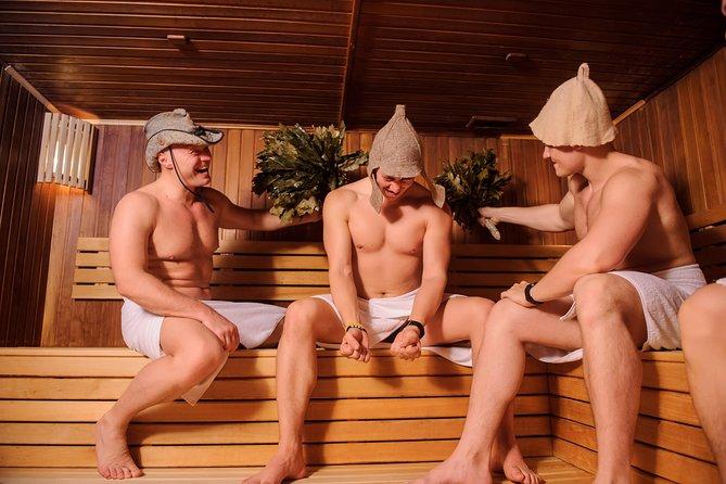 Russian sauna with sauna master and traditional tea ceremony