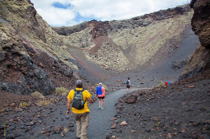 Walk into a crater of a volcano