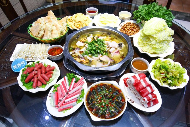 A meal in savoury fish hot pot restaurant