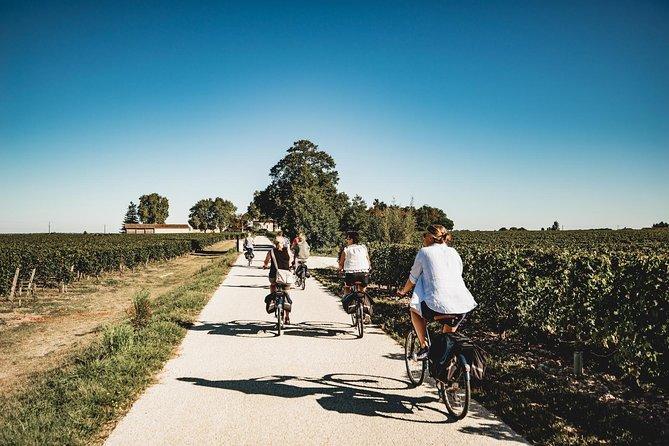 Excursão de bicicleta elétrica de meio dia em Saint-Emilion com degustação de vinhos