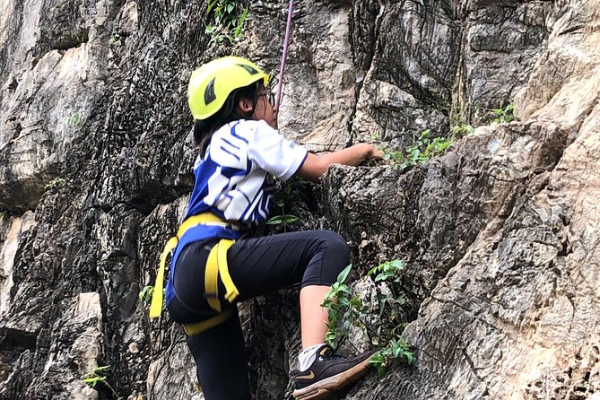Rock Climbing guiding, top rope climbing includes full climbing gears and shoe.