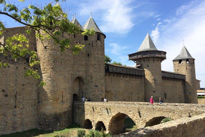 Cité Carcassonne, Lastours castles belvedère,Canal du midi. Private from Albi