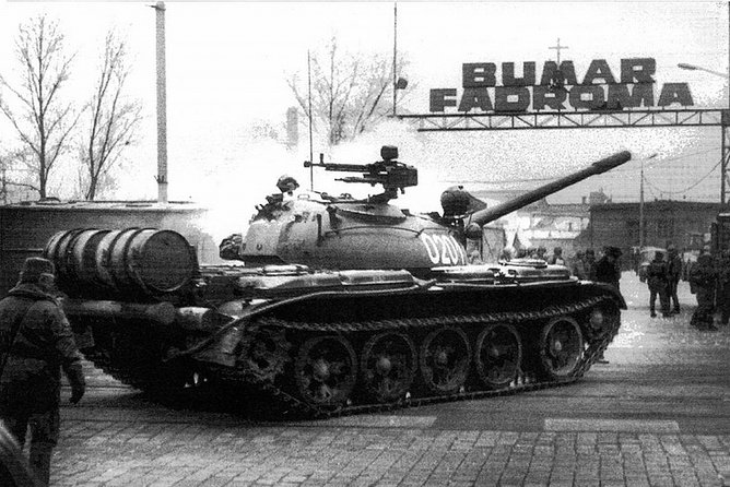 Tank in front of Fadroma Factory