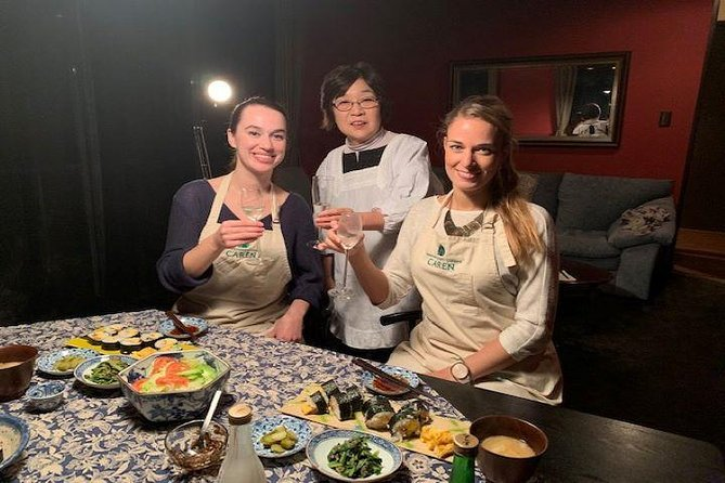 Kyoto Cooking & Rolled Sushi lesson for lunch, Dinner with Sake Tasting