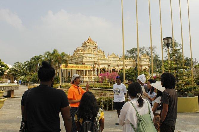 Mekong Delta from Ho Chi Minh city with Vinh Trang pagoda and hand Rowing Sampan