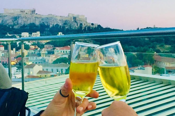 Unique and Romantic Greek champagne tasting experience with Acropolis views